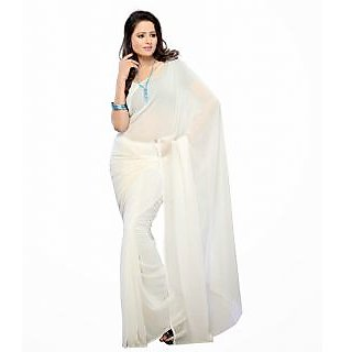 FabPandora Exclusive Fancy  Designer Plain Solid White Faux Georgette Saree