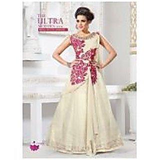 Khantil Buy Online Off White Net Designer Gown