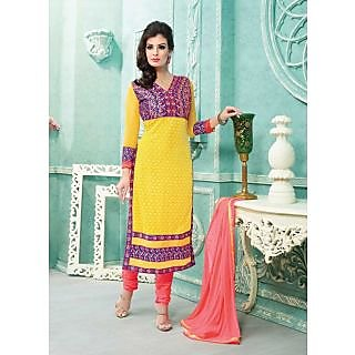 Vastrani Yellow & Pink Coloured Embroidered Salwar Suit 180D2008