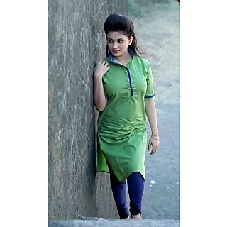 Women's Green Cotton Long Kurti