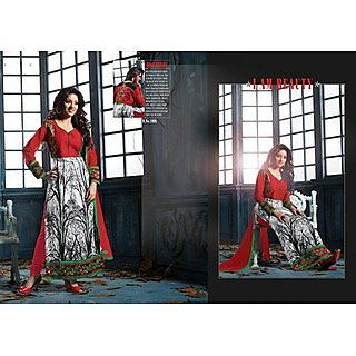 Divine Ameera Red & White Colour Salwar Kameez
