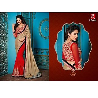 Indian Designer Bollywood Replica Actress Sari Chickoo & Red Bridal Saree