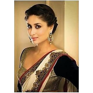 Kareena Kapoor White And Black Bollywood Designer Saree
