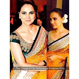 Lara Dutta Net Border Work Mustard Bollywood Style Saree