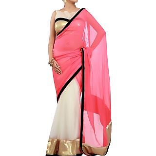 Designer Wear Pink And White Saree With Golden Sequins