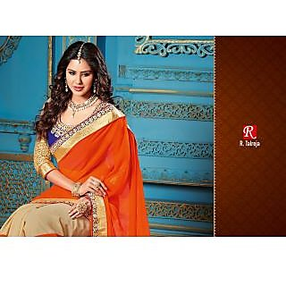 INDIAN DESIGNER BOLLYWOOD REPLICA ACTRESS ORANGE & CHIKOO BRIDAL WEDDING SAREE