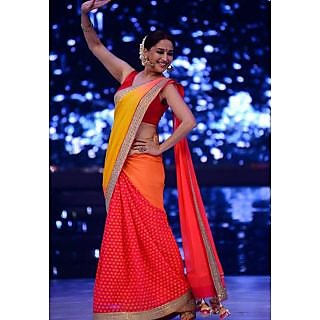 Madhuri Dixit In Yellow And Red Designer Saree