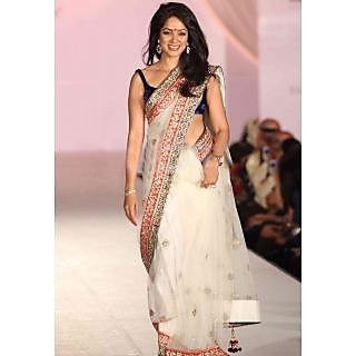 Designer Wear White Saree With Embroidered Border