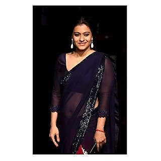 Kajol Blue And Red Georgette Saree