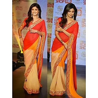 Shilpa Shetty Multicolor Bollywood Style Saree
