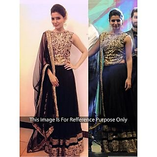 Samantha Net Border Work Black Semi Stitched Bollywood Style Lehenga