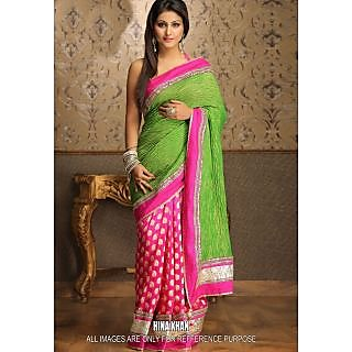 Hina Khan Pink & Green Bollywood Replica Saree