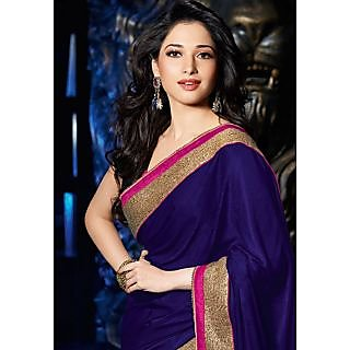 Tamannaah Blue And Gold Velvet Saree