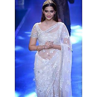 Sonam Kapoor White Embroidered Saree