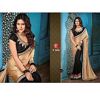 Indian Designer Bollywood Replica Actress Black Chikoo Gold Bridal Wedding Saree