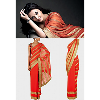 Aishwarya Rai Peach Color Bollywood Style Saree