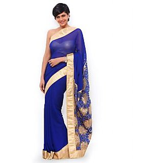 Mandira Bedi Blue And Golden Bollywood Style Saree