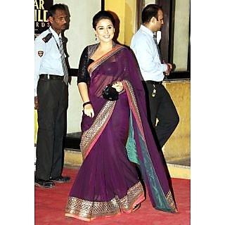 Vidya Balan Wine Beauty Bollywood Replica Saree