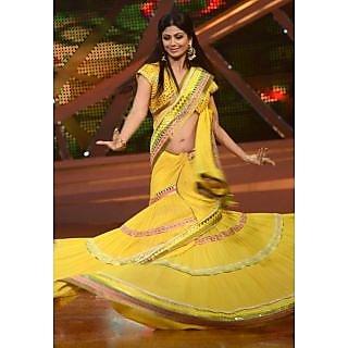 Shilpa Shetty In Yellow Saree At Nach Baliye 6 Sets