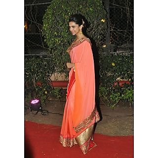 Deepika Padukon In Orange Silk Saree