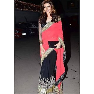 Karishma Tanna Black And Pink Net Saree