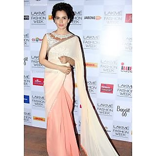 Kangana Ranaut Light Peach Saree