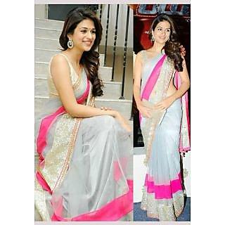 Shraddha Das Bollywood Style Grey Net Saree