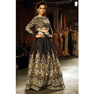 Kangana Ranaut Black Designer Lehenga With Embroidery
