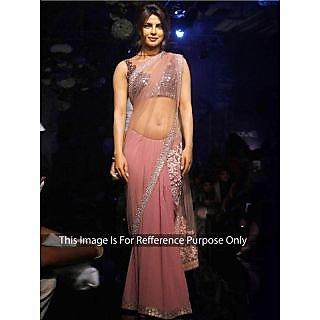 Priyanka Chopra Peach Net Bollywood Replica Saree