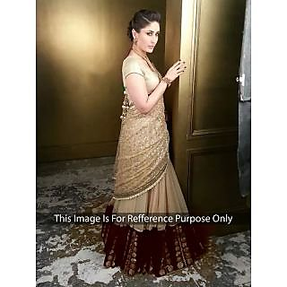 Kareena Kapoor Net Border Work Cream Semi Stitched Bollywood Style Lehenga