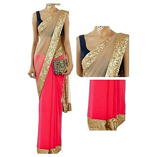 Designer Wear Pink With Golden Border Saree