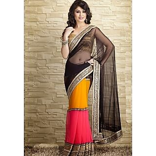 Party Wear Bollywood Style Fancy Net And Georgette Saree