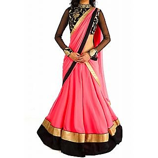 Designer Wear Pink Lehenga With Black Border