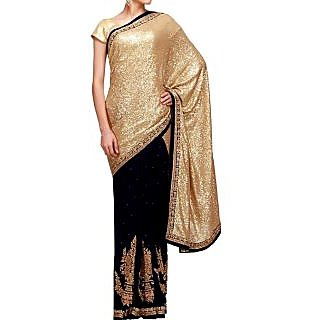 Black And Golden Sequins Saree