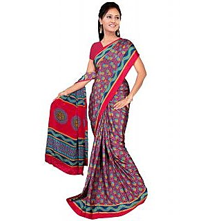 Khushali Multicolor Flower Print Silk Crepe Saree With Blouse Piece - 75126160