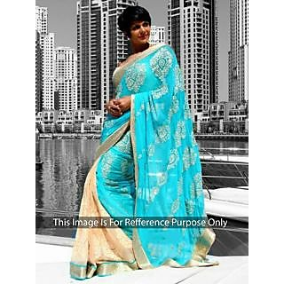 Mandira Bedi Skyblue And Cream Bollywood Style Saree