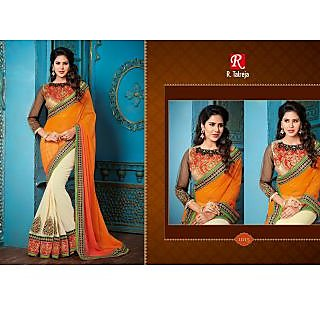 Indian Designer Bollywood Replica Actress Orange Padding Bridal Wedding Saree