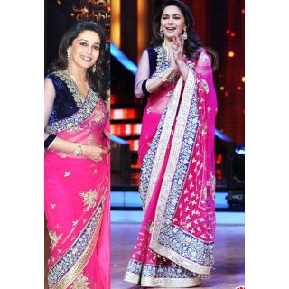 Madhuri Dixit Rani Beauty Bollywood Replica Saree