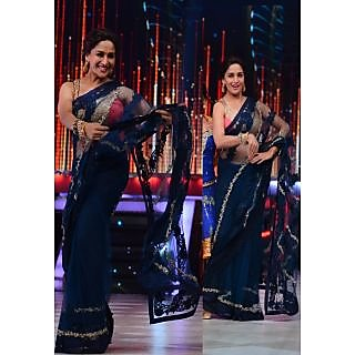 Madhuri Dixit Navy Blue Bollywood Replica Saree