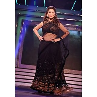 Madhuri Dixit Black Diamond Bollywood Replica Saree