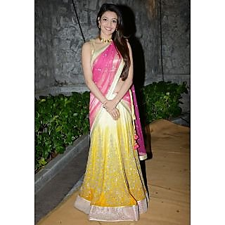Kajal Agarwal Yellow And Pink Designer Lehenga Saree