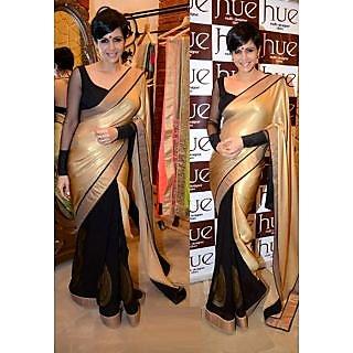 Mandira Bedi Golden Black Saree