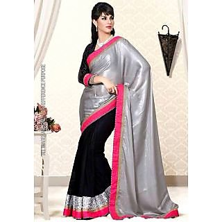 Designer Wear Black & Silver Saree