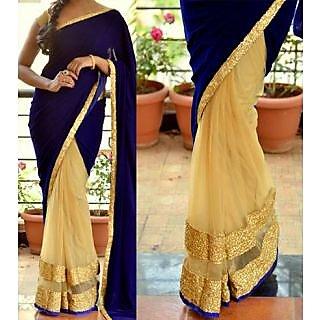 Beige Net Saree With Velvet Pallu