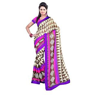 Fabdeal Brown Colored Satin Chiffon Printed Saree