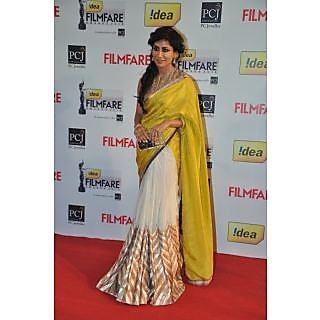Chitrangada Singh Yellow And White Bollywood Style Saree