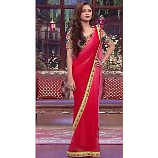 Drashti Dhami Bollywood Style Red Saree