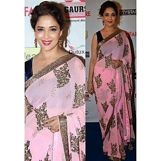 Madhuri Dixit Pink Vila Bollywood Replica Saree
