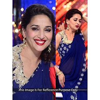 Madhuri Dixit Navy Blue Bollywood Style Saree
