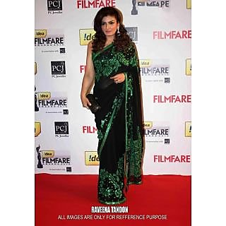 Raveena Tandon Black & Green Bollywood Replica Saree